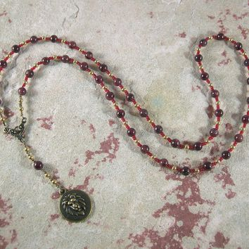 Sekhmet Prayer Bead Necklace in Garnet: Egyptian Goddess of Healing, War, Justice and Vengeance