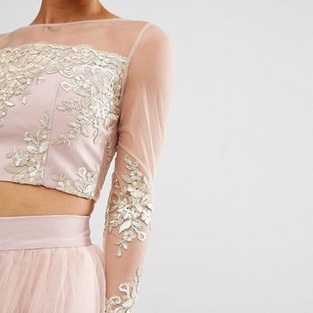 Chi Chi London Petite Allover Premium Embroidered Long Sleeve Crop Top Co-Ord at asos.com