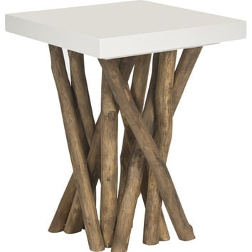 Hartwick Side Table White, Natural Legs