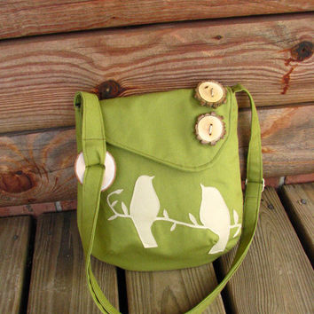 Birds Olive Green shoulder bag