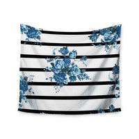 "NL Designs ""Blue Floral Strips"" Black White Wall Tapestry"
