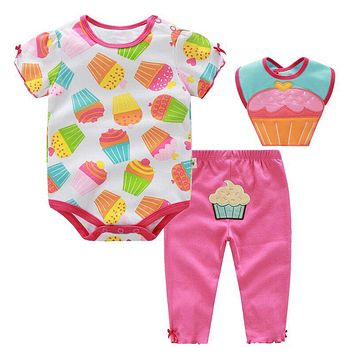 Baby Girl Clothes Set Summer Cotton Ice-cream Printed Baby Clothing Set Baby Romper Pants Bibs Baby Boys