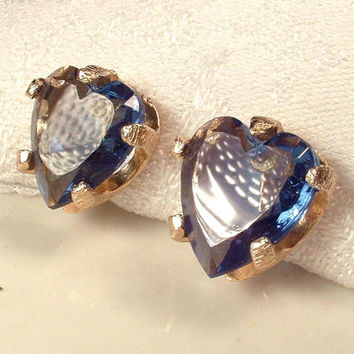 Be Still my Sapphire HEaRt, Vintage Blue Glass Crystal Rhinestone Gold Heart Earrings Signed Screw Clip Back Valentine's Day Gift