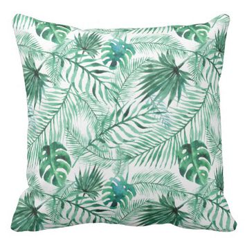 Tropical Palm Tree Leaves Pattern Throw Pillow