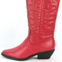 Soda Reno-s Red Pointy Cowboy Boots | MakeMeChic.com