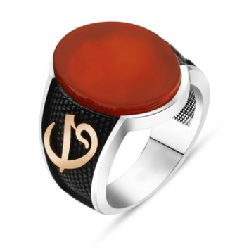 Alif vav letter monogram with agate gemstone sterling silver ring