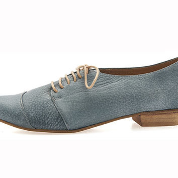 Denim blue, oxford shoes, Polly Jean, handmade, flats, leather shoes, by Tamar Shalem on etsy