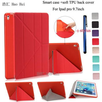 Case for Ipad Pro 9.7 pu leather matte transparent tpu back cover smart auto sleep can stand full protection+ one stylus gift