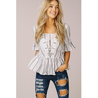 Lace up Striped Top - Gray