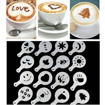 16Pcs Cartoon Christmas Mold Coffee Milk Cake Dessert Cupcake Stencil Template Cappuccino Template Strew Pad Duster Spray Tools
