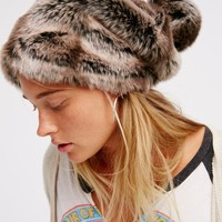 Free People Faux Fur Slouchy Beanie