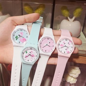 2017 New Silicone Candy Jelly Girl Watch Soft Girl Student Color Japanese Cartoon Watch Fashion Flamingo Children Wristwatch