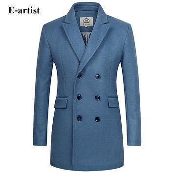 E-artist Men's Long Double Breasted Wool Trench Coat Male Warm Winter Jackets Peacoats Outerwear Overcoats Plus Size 5XL N33
