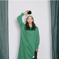 Balloon-Sleeve Long Pullover Dress