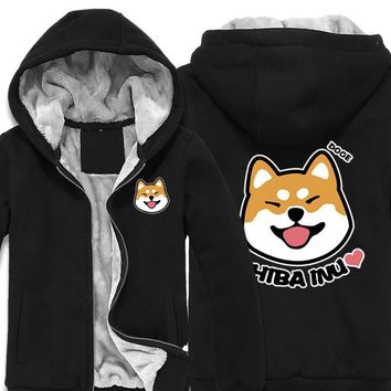 Japan Anime Doge Shiba Inu Thick Fleece Mens Outwear Big Yards Cotton Hoodie Coat Jacket Parkas Warm