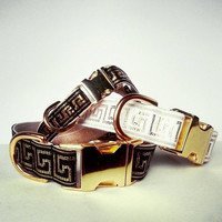 Dog collar, Versace Dog Collar, Greek key dog collar, Fancy dog collar, Modern, Adjustable dog collar, black and gold, Metallic dog collar