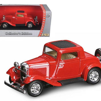1932 Ford 3 Window Coupe Red 1-43 Diecast Car by Road Signature