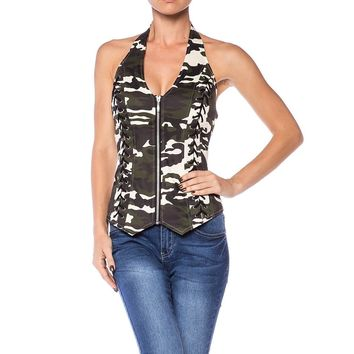 Camouflage Lace Up Corset Bustier Styled Halter Top