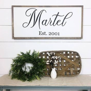 Last Name & Established Date ~ Hand Painted Sign