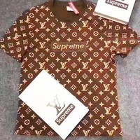 SUPREME LV T-SHIRT TOP TEE BROWN B-GQHY-DLSX