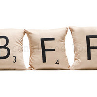 Set of 3 SCRABBLE LETTER decorative pillow cases cushion covers -- BFF or choose any 3 letters