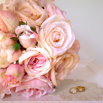 Peachy Pink Bridal Bouquet, Rustic Romance, Bride's Flowers, Summer Wedding, Rose Wedding Bouquet, Pink, Peach, Pastel Bouquet, Wedding