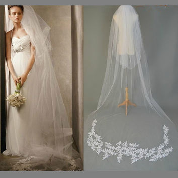 Wedding Veil  White/Ivory Two Layer 2T Chapel Length Lace Appliqued Romantic Wedding Inspiration Long Bridal Veil Hair Accessory