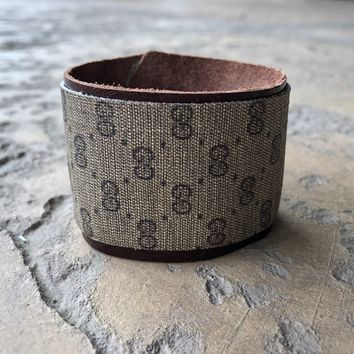 Medium Width Cuff Bracelet Made From Upcycled Vintage Gucci Micro GG