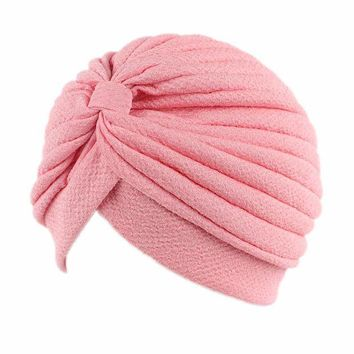 ONETOW Women's Pleated Ruffle Knit Tied Turban Cap Muslim Head Scarf Hat Headwrap Beanies
