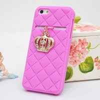 Elegant Pink Gloden Crown Soft Silicone Case For Iphone 4/4s/5 from Fancy Mall