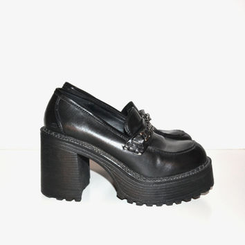 Vintage 90s Chunky Heel Shoes Black Shoes Skechers Shoes Rave Club Kid Grunge Goth Platform Shoes Size 8 1/2