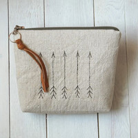 Linen arrows pouch, cosmetic pouch, Make up bag, Oatmeal, Leather