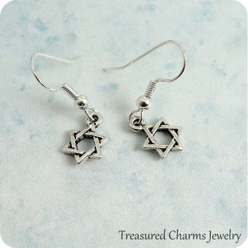 Star of David Earrings, Silver Plated