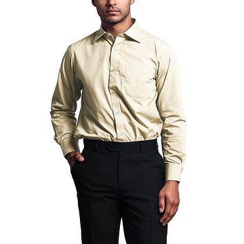 Regular Fit Long Sleeve Dress Shirt - Tan