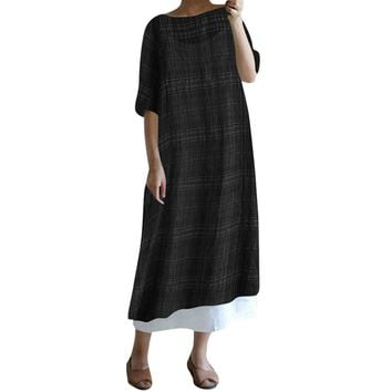 Women Casual Plaid 1/2 Sleeve Loose Cotton Linen Dress Split Hem Long Maxi Dress