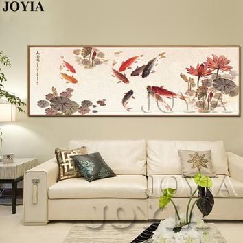 Large Wall Art Canvas Prints Chinese Calligraphy Painting Ink Koi Fish Pond Lotus Flower Picture Hall Living Room Decor No Frame