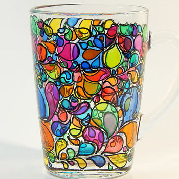 Сolorful Coffee Mug Psychedelic Coffee Mug Hand Painted Glass Coffee Cup Custom Coffee Mugs Cappucino Cups Hand Painted Mug, Colorful Mug