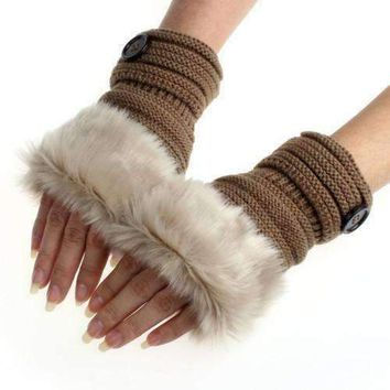 Button Fur Womens Hand Winter Gloves