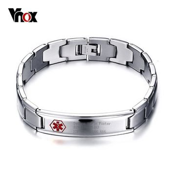 Vnox Men's Medical Alert ID Bracelet Bangle Jewelry Stainless Steel Metal 8.5inch Free Engraved