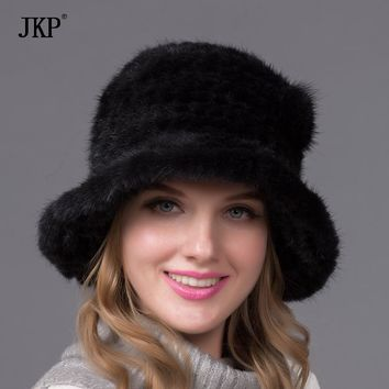 New Arrival 100% High Quality Real Knitted Mink Fur Hat For Women Winter Warm Genuine Fur Cap With BZ-13