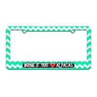 Honk if You Love Alpacas - License Plate Tag Frame - Teal Chevrons Design