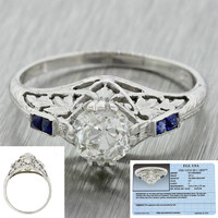 1930s Antique Art Deco 14k Gold 0.87ctw Diamond Sapphire Engagement Ring EGL