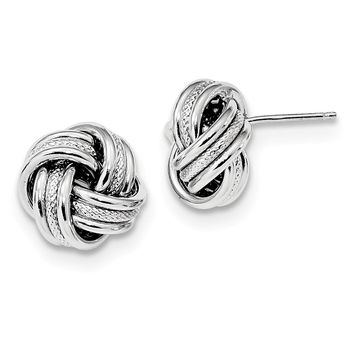 925 Sterling Silver Rhodium-plate Textured Polished Love Knot Earrings