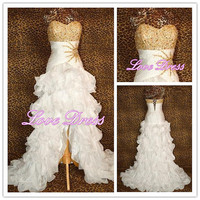 2013 Gorgeous lvory gold prom dress