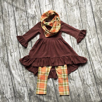 FALL/Winter scarf set children cotton suit baby girls thanksgiving plaid 3pieces brown long sleeves pants boutique clothes