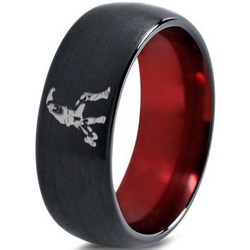 Iron Man Inspired Red Chromacolor Black Dome Cut Tungsten Ring