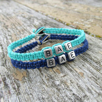 BAE Bracelets for Couples or Best Friends, Teal and Navy Blue Handmade Hemp Jewelry