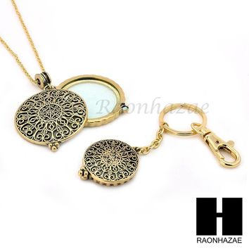 Gold 5X Magnifying Glass Round Filigree Key Chain Pendant Chain Necklace Set SJ3G