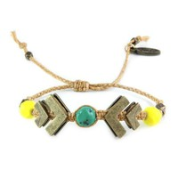 Brass Chevron and Turquoise Nugget Braided Bracelet in Gold Rush
