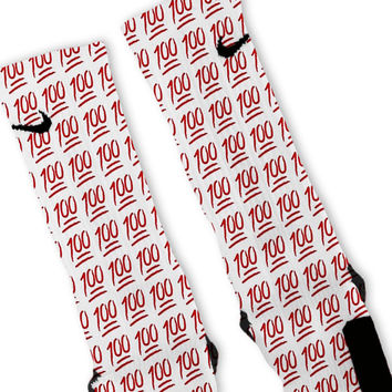 Red Keep It 100 Emoji Custom Nike Elite Socks